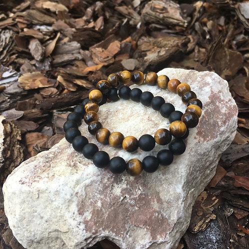Tiger's Eye & Black Onyx Bracelet Set
