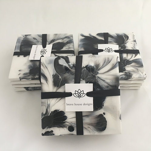 Hand Painted Coasters-Black and white