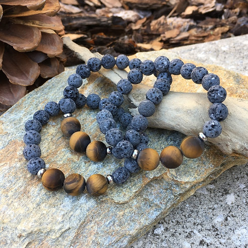 Lava Stone Bracelet-Tiger's Eye (matte)