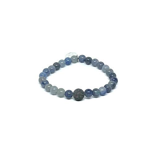 Blue Aventurine Bracelet with Lava Stone