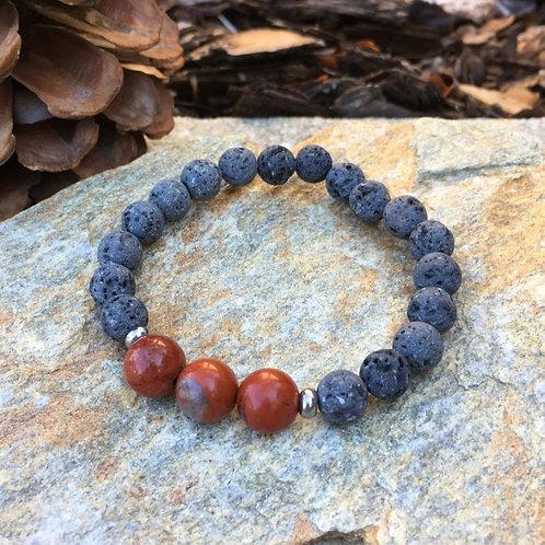 Lava Stone Bracelet-Red Jasper