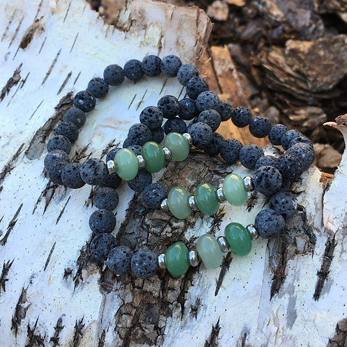 Lava Stone Bracelet-Green Aventurine