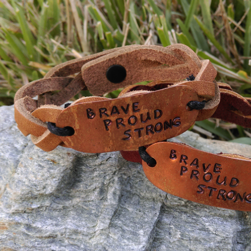 Leather bracelet, Brave House Designs, Charms of Change