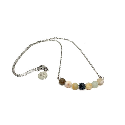 Lava Stone and Amazonite Bar Necklace