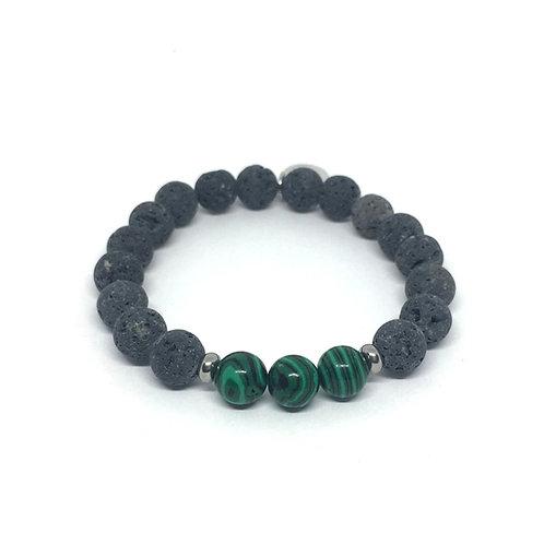 Lava Stone Bracelet-Malachite