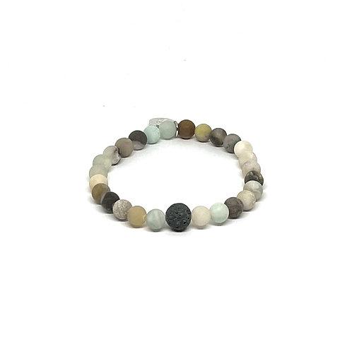 Amazonite Bracelet with Lava Stone