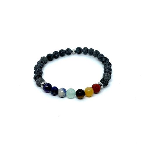 Lava Stone Bracelet 6mm-The Seven Chakras
