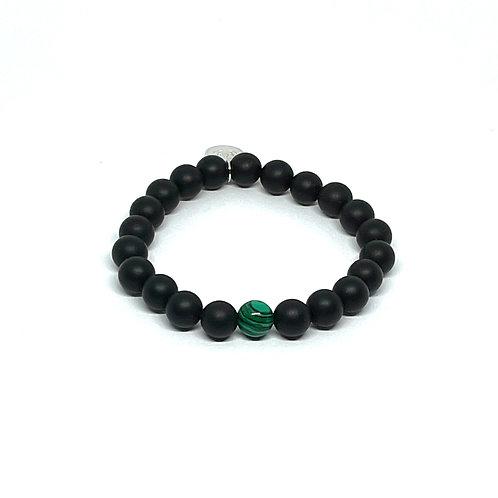 Black Onyx & Malachite Bracelet