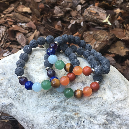 Lava Stone Bracelet-The Seven Chakras