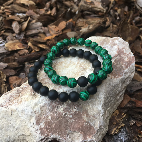 Malachite & Black Onyx Bracelet Set
