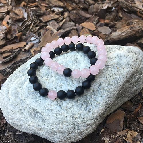 Rose Quartz & Black Onyx Bracelet Set