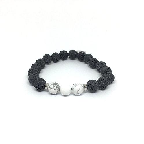 Lava Stone Bracelet-Howlite