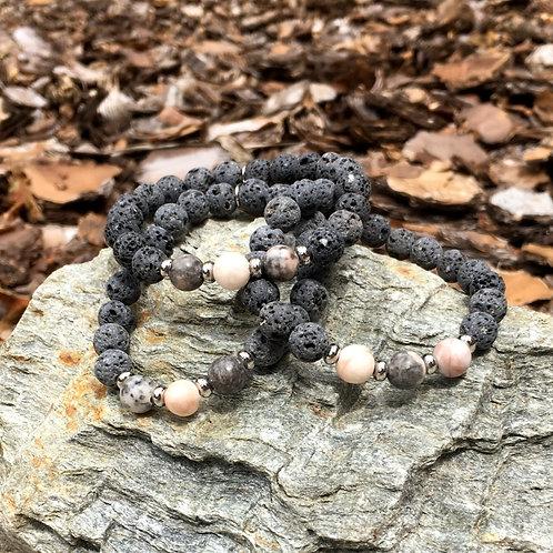 Lava Stone Bracelet-Pink Zebra Jasper
