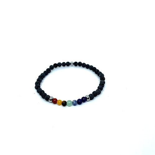 Lava Stone Bracelet 4mm-The Seven Chakras