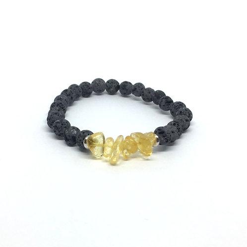 Lava Stone Bracelet-Citrine