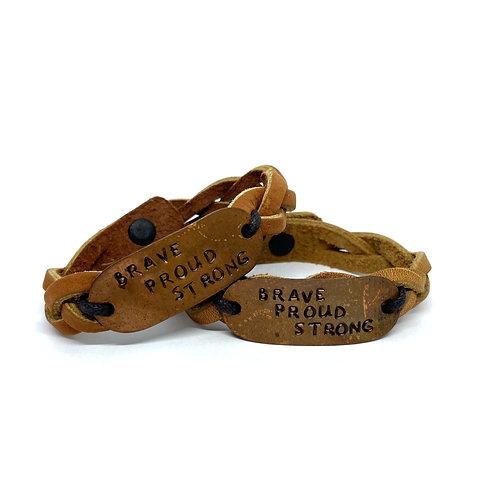 Leather Bracelet: Brave, Proud, Strong