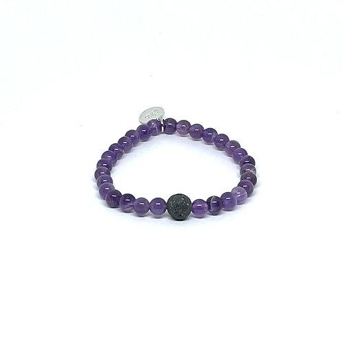 Amethyst Bracelet with Lava Stone