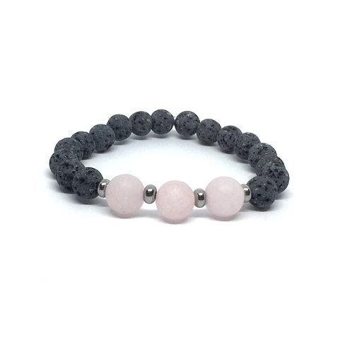 Lava Stone Bracelet-Rose Quartz