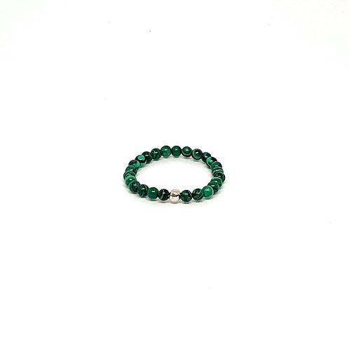 Semi-Precious Stone Ringlet-Malachite