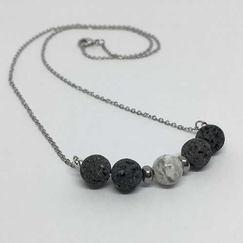 Lava Stone and Howlite Bar Necklace