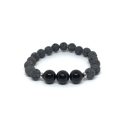 Lava Stone Bracelet-Black Onyx