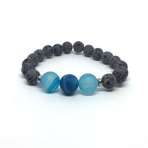 Lava Stone Bracelet-Blue Agate