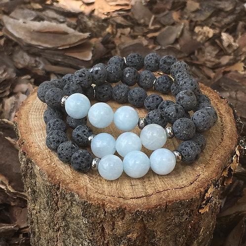 Lava Stone Bracelet-Aquamarine