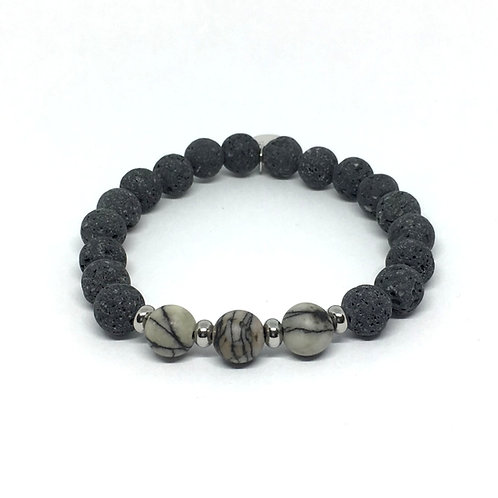 Lava Stone Bracelet-Spiderweb Jasper