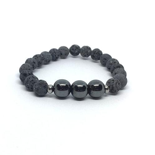 Lava Stone Bracelet-Hematite