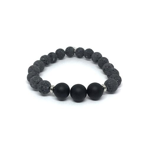 Lava Stone Bracelet-Black Onyx (matte)