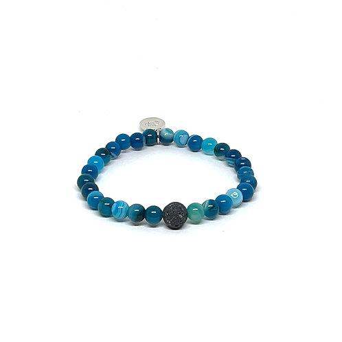 Blue Agate Bracelet with Lava Stone