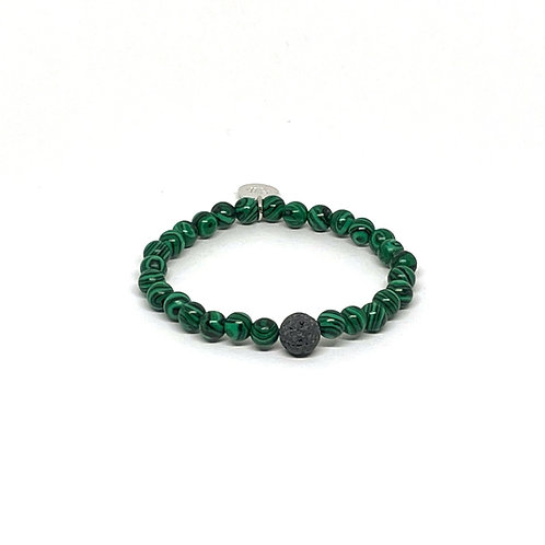 Malachite Bracelet with Lava Stone
