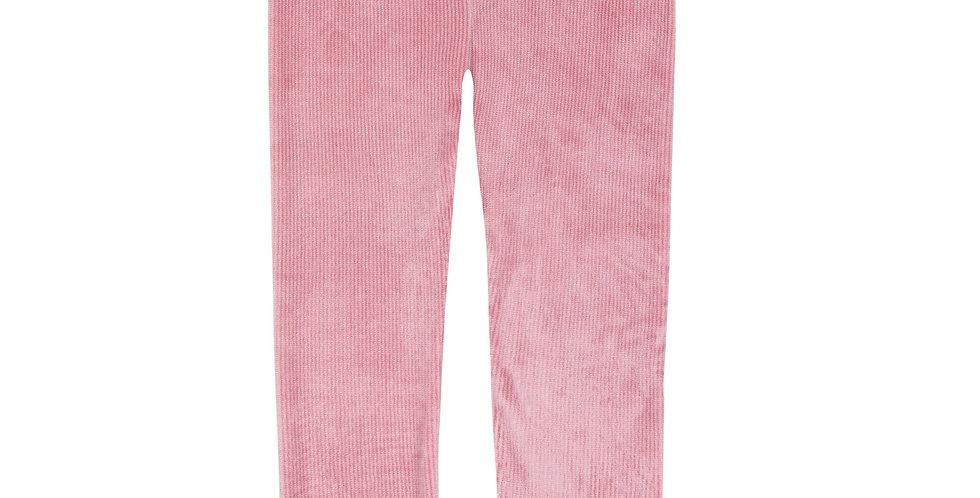 Pink Velvet Textured Leggings