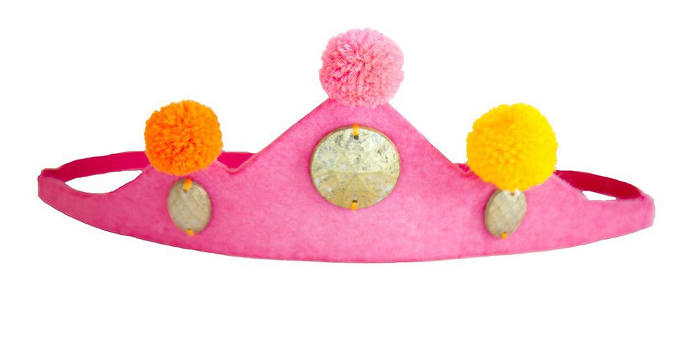 Crown Pom Pom Headband