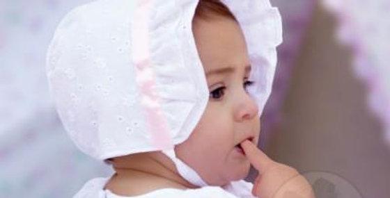 Baby Satin Trim Eyelet Bonnet