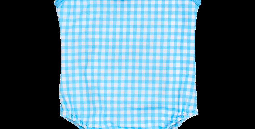 Blue Gingham- Spandex Swim Suit