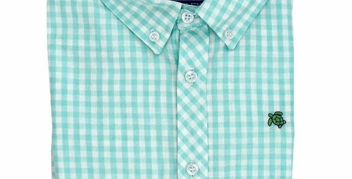 Roscoe Button Down Shirt-Mint Gingham