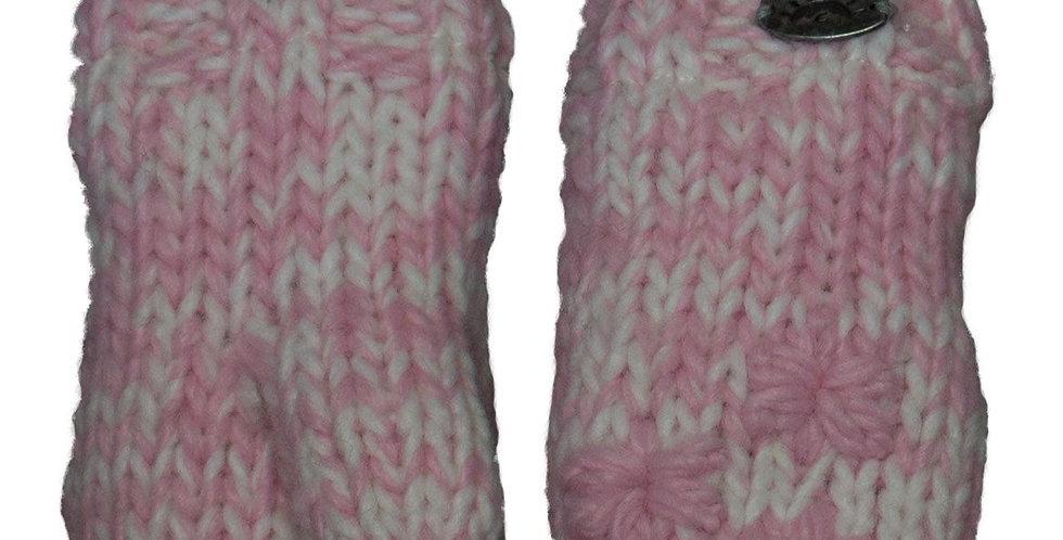 pink knit mittens