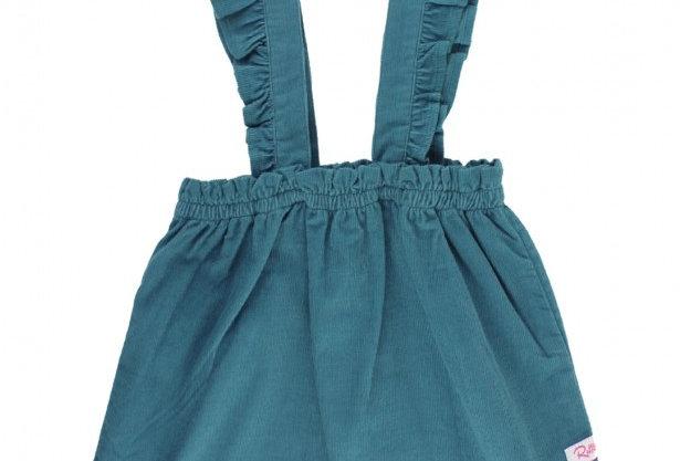 Blue corduroy ruffle strap skirt