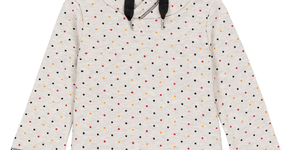 Dotted Funnel Collar Fleece Shirt