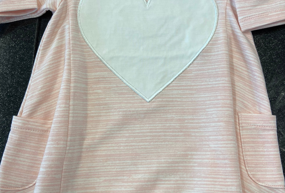 French Terry Dress (With Heart) - Pink Chalk Lines