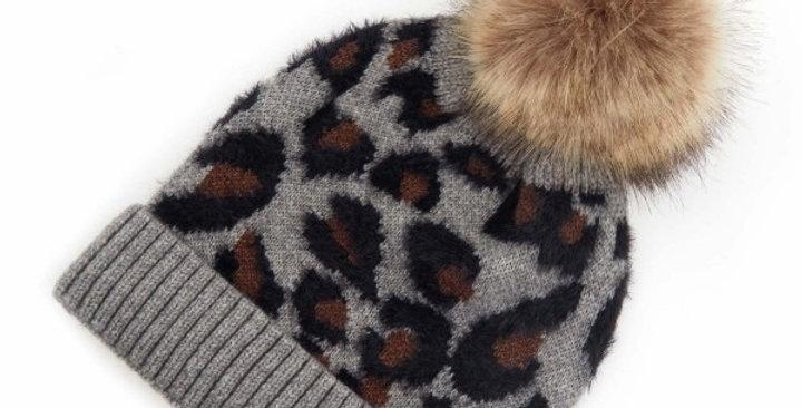 Melange grey leopard print hat