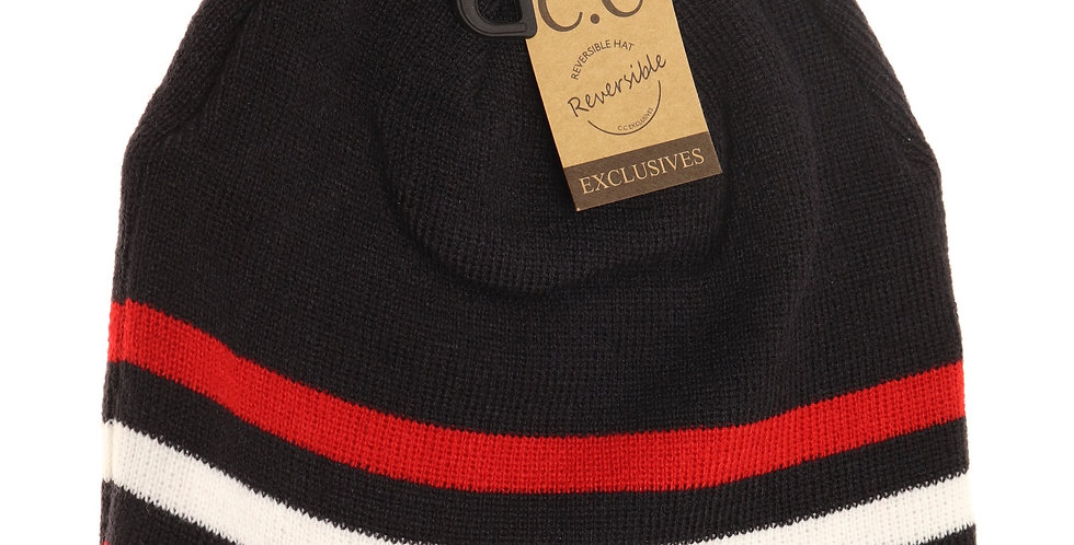 red reversible winter hat