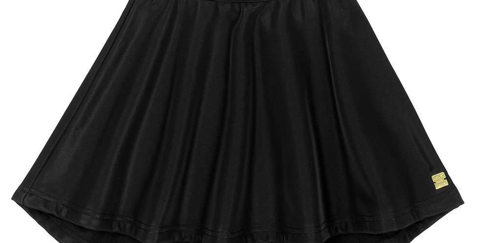 BLACK FAUX-LEATHER SKIRT, GIRL