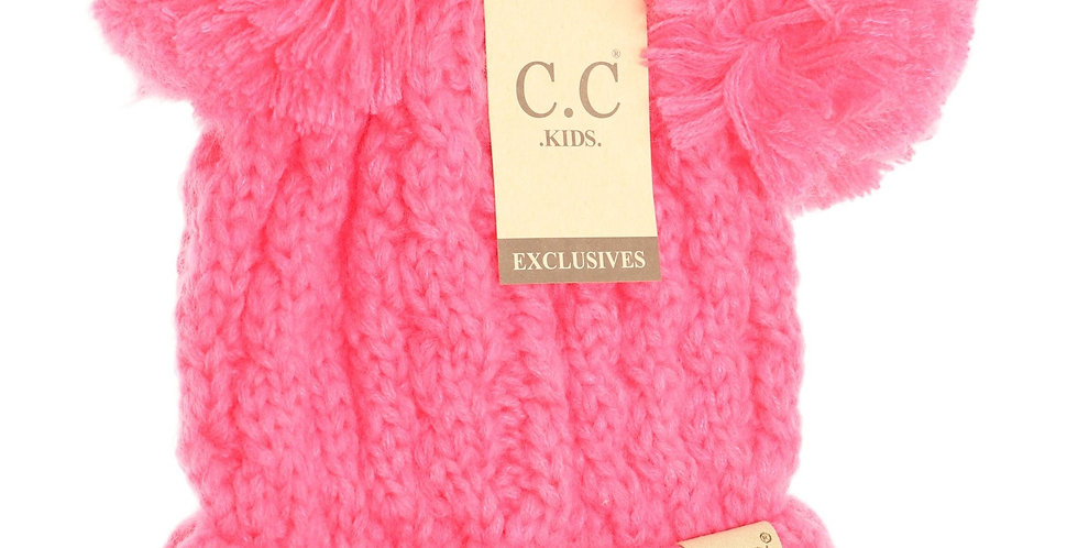 hot pink knit 2 pom pom hat