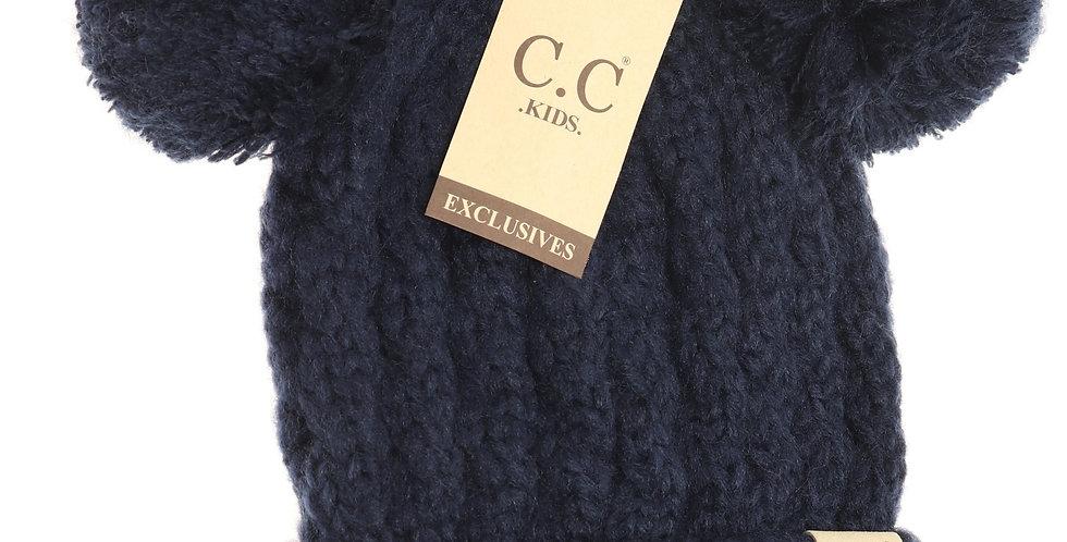 Navy blue knit 2 pom pom hat