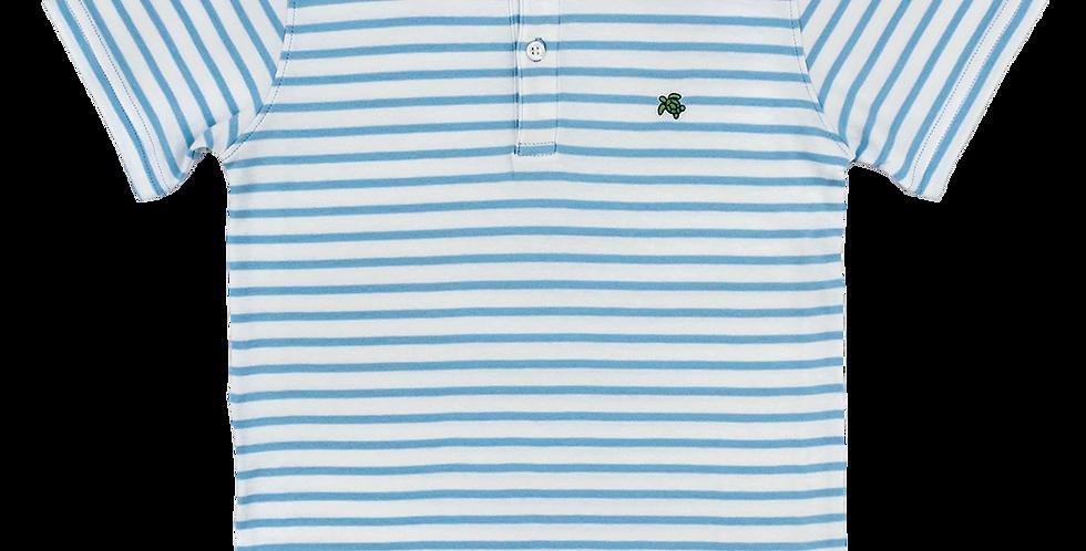 Henry Short Sleeve Stripe Polo-Light Blue/White