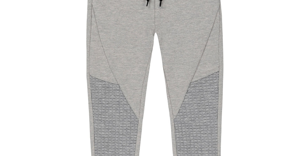 LIGHT GREY FRENCH TERRY JOGGER PANTS WITH QUILTED DETAILS, BOY