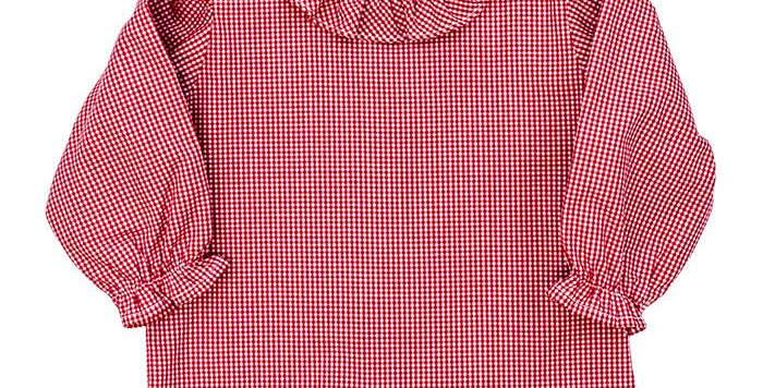 Red Ruffled Check Blouse