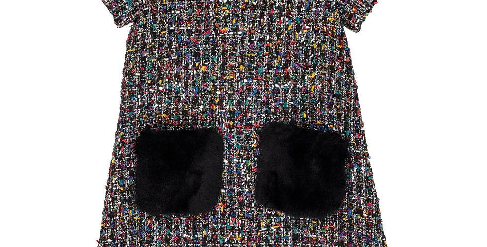 Tweed Multicolor Fur Dress